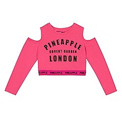 Pineapple - Girls' pink cold shoulder crop top