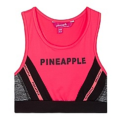 Pineapple - Girls' coral logo sports bra