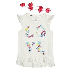 Mantaray - Girls' off white 'Love' print t-shirt