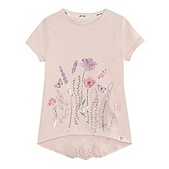 Mantaray - Girls' light pink floral print sequinned embellished top
