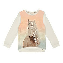 Mantaray - Girls' off white sequinned horse print sweater