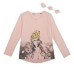 Mantaray - Girls' pink printed t-shirt