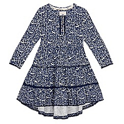 Mantaray - Girls' navy horse print tiered dress