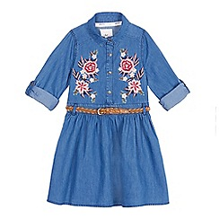 Mantaray - Girls' blue embroidered dress