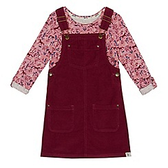 Mantaray - Girls' dark red cord pini dress and top set