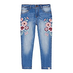 Mantaray - Girls' blue embroidered jeans