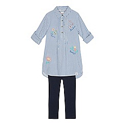 Mantaray - Girls' blue striped shirt and leggings set