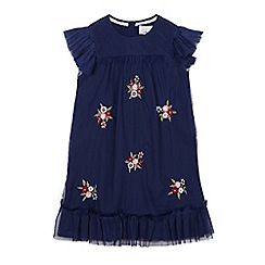 Mantaray - Girls' navy floral embroidered dress