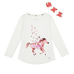 Mantaray - Girls' white sequinned horse and butterfly headband set