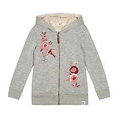 Mantaray - Girls' grey embroidered floral zip through hoodie
