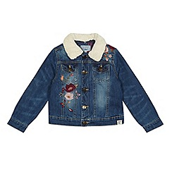 Mantaray - Girls' blue embroidered denim jacket
