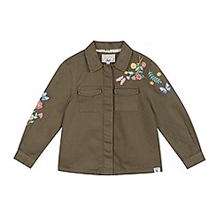 Mantaray - Girls' khaki floral embroidered shirt jacket