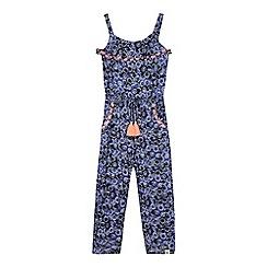 Mantaray - Girls' blue floral print jumpsuit