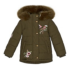 Mantaray - Girls' khaki floral embroidered coat
