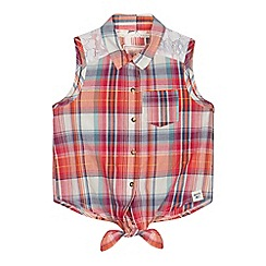 Mantaray - Girls' orange checked shirt