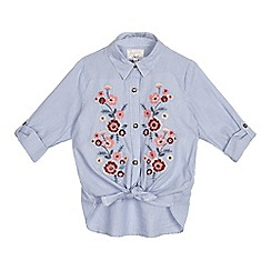 Mantaray - Girls' light blue fine striped floral embroidered knot hem top