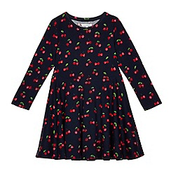 bluezoo - Girls' navy cherry print skater dress