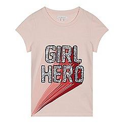 bluezoo - Girls' pink sequin 'Girl Hero' t-shirt