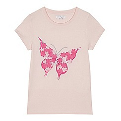 bluezoo - Girls' pink floral applique butterfly t-shirt