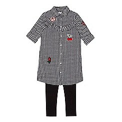 bluezoo - Girls' black gingham applique shirt and leggings set