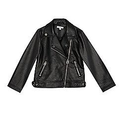 bluezoo - Girls' black leatherette biker jacket