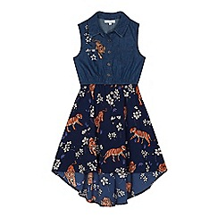 bluezoo - Girls' navy tiger print mock dress