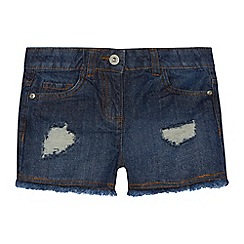 bluezoo - Girls' blue distressed denim shorts