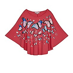 bluezoo - Girls' pink butterfly print cape top
