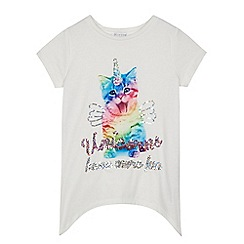 bluezoo - Girls' white cat unicorn print t-shirt