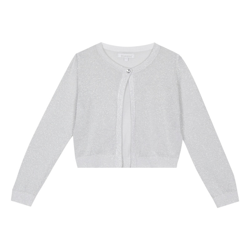 53423002fe9 bluezoo - 'Girls' Silver Glitter Long Sleeve Cardigan - Female First  Shopping