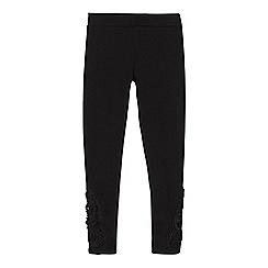 bluezoo - Girls' black lace trim leggings