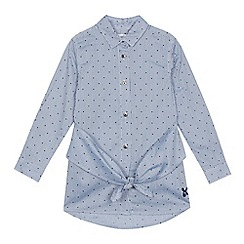 J by Jasper Conran - Girls' blue striped spotted knot front shirt