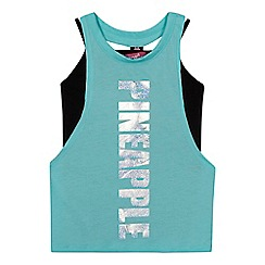 Pineapple - Girls' pale green logo print layered top