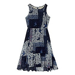 Mantaray - Girls' navy patchwork print dress