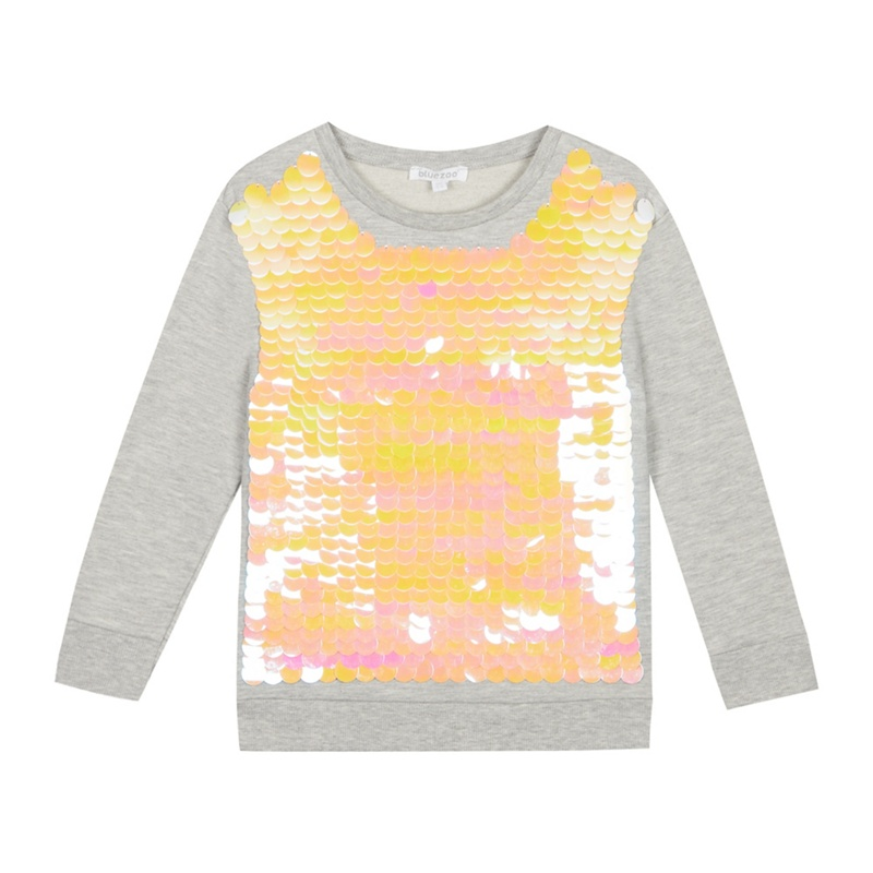 BLUE ZOO | Bluezoo - Girls' Grey Sequinned Sweater | Goxip