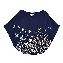 bluezoo - Girls' navy butterfly print cape top