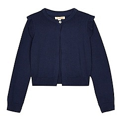 bluezoo - Girls' navy frill cardigan