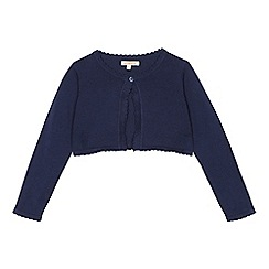 bluezoo - Girls' navy scalloped cardigan