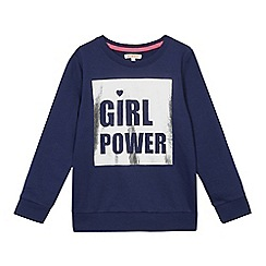 bluezoo - Girls' navy 'Girl Power' sweatshirt