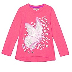 bluezoo - Girls' bright pink butterfly print t-shirt