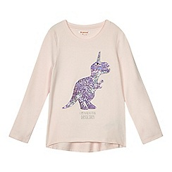 bluezoo - Girls' light pink sequin dinosaur top