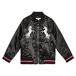bluezoo - Girls' black unicorn applique bomber jacket