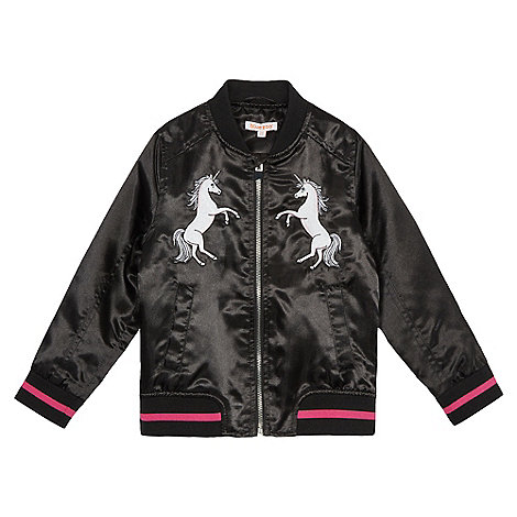 bluezoo Girls' black unicorn applique bomber jacket | Debenhams