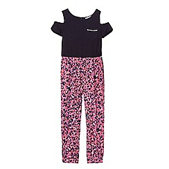 bluezoo - Girls' navy and pink animal print cold shoulder jumpsuit