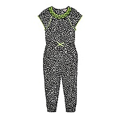 bluezoo - Girls' black animal print bead embellished jumpsuit