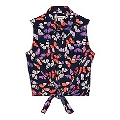 bluezoo - Girls' navy butterfly print self-tie front top