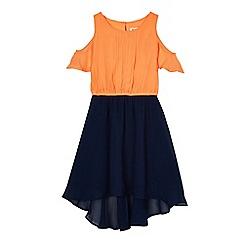 bluezoo - Girls' orange and navy cold shoulder dress