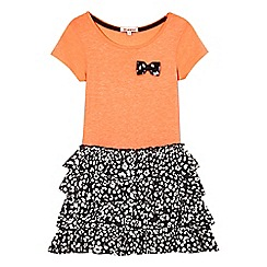 bluezoo - Girls' coral and black animal print rara dress