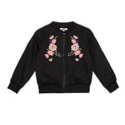 bluezoo - Girls' black floral embroidered bomber jacket