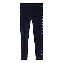 bluezoo - Girls' navy velvet stone embellishment leggings